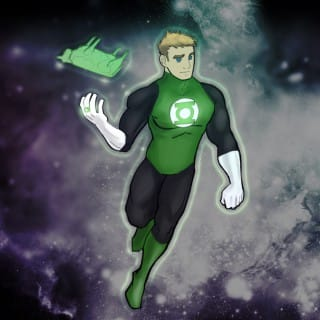 Green lantern style superhero flying in space holding a green cow